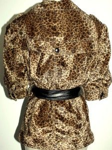 Aryn K Womens Cheetah Animal Leopard Print Belted Jacket Half Slv Coat