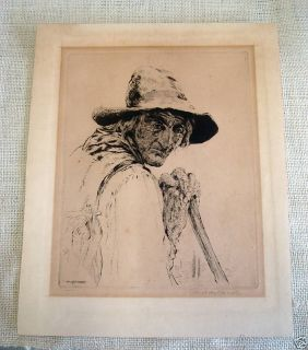 Antique Listed Paul Ashbrook Mexican Etching Litho Sign