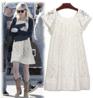 New Female Womens Casual Cap Sleeve Style Lace Crew Neck Mini Dresses