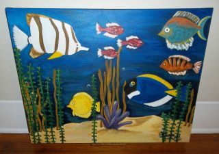 Large Original Acrylic Tropical Fish Aquarium Painting