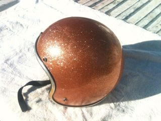 1971 vintage Arthur Fulmer Gold Metal Flake Glitter Motorcycle Helmet