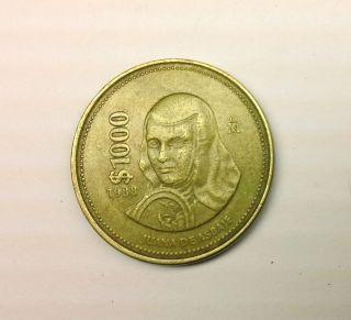 1988 1000 JUANA DE ASBAJE PESO MEXICO PESO COIN UNIDOS MEXICANOS 1000