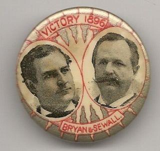 Bryan Sewall Victory 1896 jugate political button pinback pin