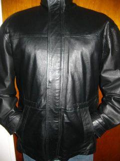 Mens John Ashford Soft Black Leather Zipper Up Jacket Coat Sz XL Very