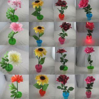 Red Pink Rose Flowers Transparent Vase Artificial Decor