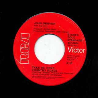 DENVER TAKE ME HOME COUNTRY ROADS POEMS PRAYERS PROMISES 45rpm RECORD