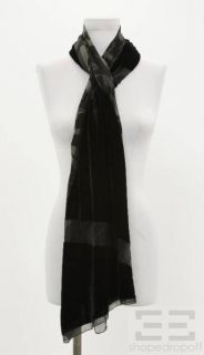 Armani Collezioni Black Velvet & Printed Silk Two Sided Scarf