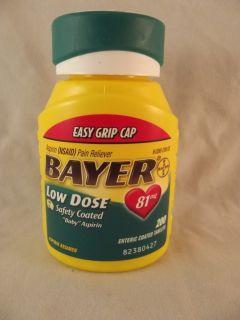 200 Bayer Low Dose Baby Asprin Aspirin 81 mg Enteric Safety Coated