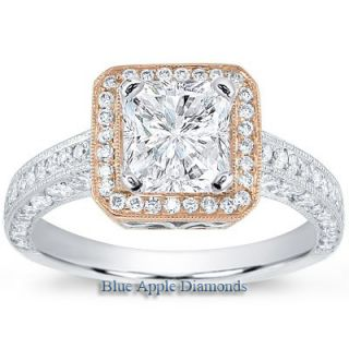 15ct Asscher Diamond Halo Engagement Ring w Rose Gold