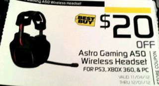Astro Gaming Wireless Headset $20 Best Buy Coupon Valid to 12 01 12