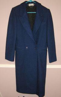 Womens Ashley Scott Petite Blue 100 Wool Coat Size S