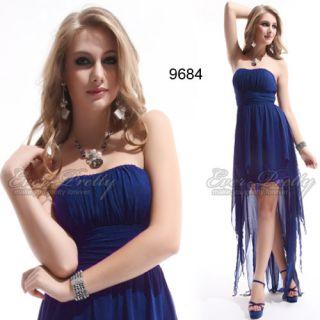 Asymmetric Hem Blue Ruffes Strapless High Low Prom Dress 09684 AU Size