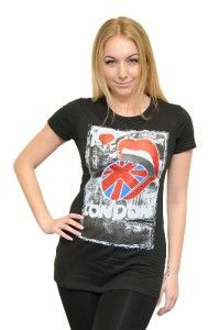 Ladies London Lips Black Fitted T Shirt Souvenirs Gifts British Girls