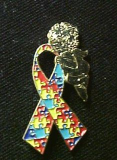Puzzle Ribbon Gold Angel Autism Asperger Pin Tac New