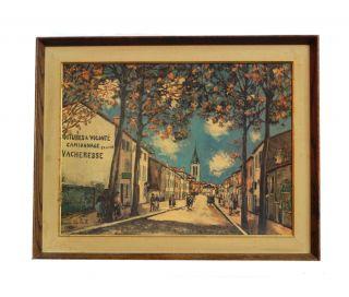 Vintage 50s Maurice Utrillo Print Wood Framed