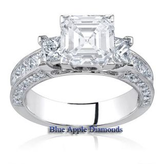 90 Carat Asscher Cut Diamond Three 3 Stone Engagement Ring D E F