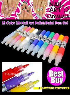 12 Mix Color 3D Nail Art Tips Drawing Painting Paiint Pen Bag Set