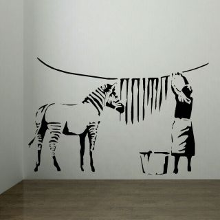 Large Banksy Zebra Stripes Laundry Room Wall Art Sticker Mural