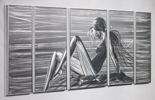 Metal Wall Art Abstract Modern Sculpture Woman Beautiful 5 Panel Sexy