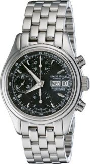 Armand Nicolet Hunter Chronograph Day Date Automatic Watch SS/Black