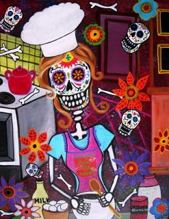 Print Art Mexican Folk Art Day of The Dead Cook Chef Painting Baker