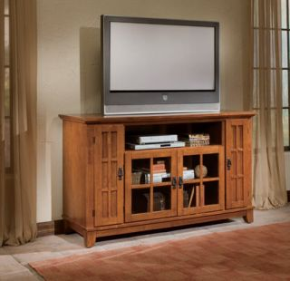 Arts Crafts Cottage Oak Plasma Tall TV Stand Console