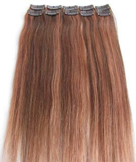 30 Brown Mix with Auburn Clip in on 100 Human Hair Extensions