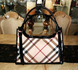 1195 Burberry Ashmore Classic Nova Check Patent Trim Tote Handbag SOLD