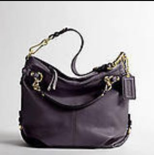Coach 14142 Brooke Leather Hobo Handbag Eggplant Dark Purple