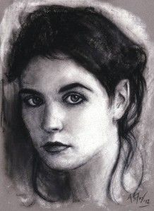 Original Female Portrait Pastel Drawing Modern Contemporary Art A.Fry