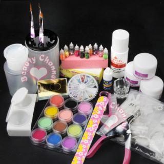 Full Pro Acrylic Powder Liquid Kits Nails Art Tips Kit