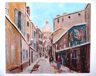 Maurice Utrillo Montmarte Vintage Color Art Lithograph