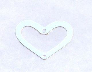 Sterling Silver Heart Shape Link w 2 Holes 15x20mm