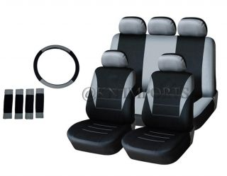 Auto Car Seat Covers Semi Custom for Van SUV Truck 14pcs Black Gray