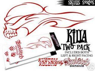 Killa 2 Pack Skull Pinstripe Design Vinyl Decal Color