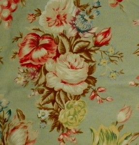 Ralph Lauren Green Floral Charlotte Queen Flat Sheet