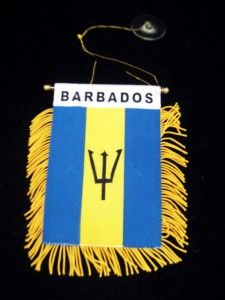 New Barbados Mini Car Banner Pennant Flag with Suction Cup