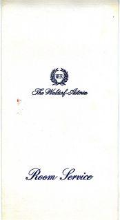 Waldorf Astoria Hotel Room Service Menu New York City 1976 Hilton