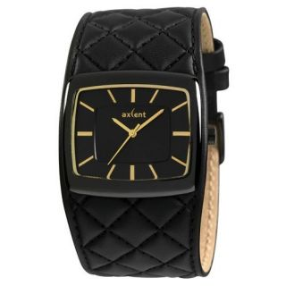 AXCENT OF SCANDINAVIA FLOW WATCH PADDED BLACK LEATHER STRAP GOLD