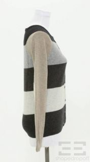 Autumn Cashmere Gray & Beige Striped Cashmere Cardigan Sweater Size