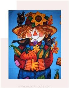 Autumn Scarecrow Harvest Wall Hanging Fabric Panel