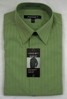 New Mens Axist Slim Fit LS Dress Shirt Sage Green