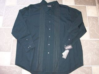 New Axist Black LS Button Front Shirt Mens 3XLT