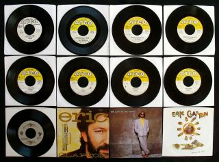 ERIC CLAPTON 12 Old Radio Station 45s including 2 Rare Promo 45s ATCO