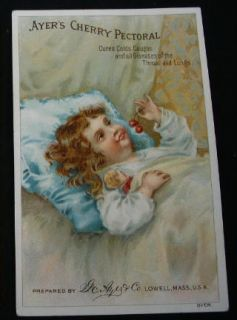 Ayers Cherry Pectoral Victorian Advertising Trade Card Little Girl