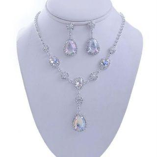 Aurora Borealis AB Bridal Drop Bib Rhinestone Necklace Set