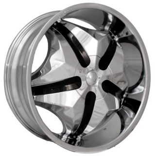 Chrome Wheels Free Black Inserts Rims Tires Pkg 6x135 SUV Truck