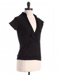 Black Short Sleeved Surplice Hoody Sz M Top Athletic Wear Shirt