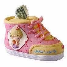 Piggy Bank Keepsake Shoe Jesus Loves Me Precious Moments Pink New