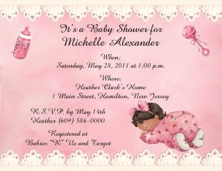 10 Adorable Sleeping Baby Girl Personalized Baby Shower Invitations w